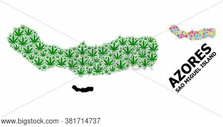 Vector Cannabis Mosaic And Solid Map Of Sao Miguel Island. Map Of Sao Miguel Island Vector Mosaic Fo