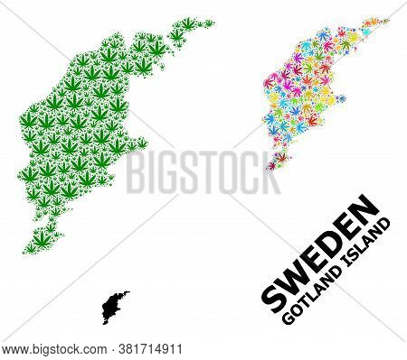 Vector Weed Mosaic And Solid Map Of Gotland Island. Map Of Gotland Island Vector Mosaic For Drug Leg