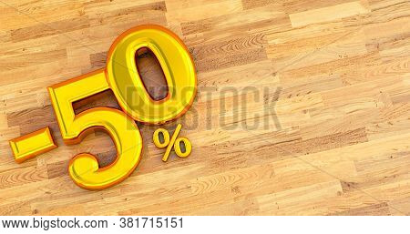 -50% Off. Fifty-fifty. Gold Fifty Percent. Gold Fifty Percent On Wooden Background. 3d Render.