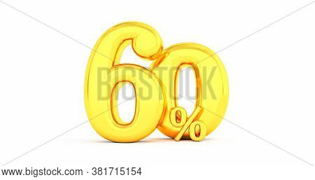 60% Off. Gold Sixty Percent. Gold Sixty Percent On White Background. 3d Render.