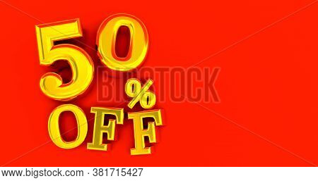 50% Off. Fifty-fifty. Gold Fifty Percent. Gold Fifty Percent On Red Background. 3d Render.
