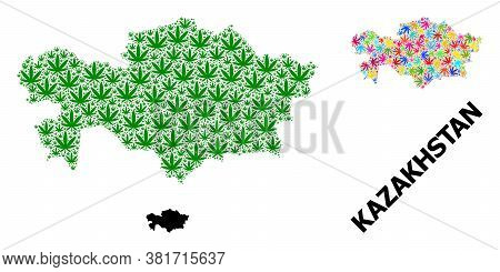Vector Cannabis Mosaic And Solid Map Of Kazakhstan. Map Of Kazakhstan Vector Mosaic For Weed Legaliz
