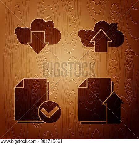 Set Upload File Document, Cloud Download, Document And Check Mark And Cloud Upload On Wooden Backgro