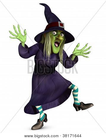 3 d cartoon halloween crazy witch portret poster