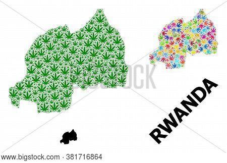 Vector Hemp Mosaic And Solid Map Of Rwanda. Map Of Rwanda Vector Mosaic For Hemp Legalize Campaign.