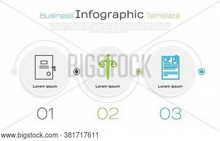 Set Line Lawsuit Paper, Scales Of Justice And Lawsuit Paper. Business Infographic Template. Vector