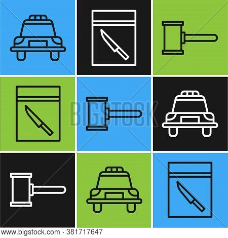 Set Line Police Car And Flasher, Judge Gavel And Evidence Bag And Knife Icon. Vector