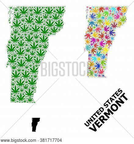 Vector Weed Mosaic And Solid Map Of Vermont State. Map Of Vermont State Vector Mosaic For Marijuana