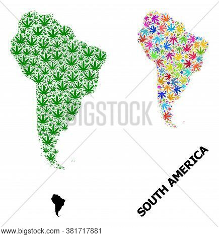 Vector Hemp Mosaic And Solid Map Of South America. Map Of South America Vector Mosaic For Hemp Legal