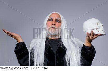 Happy Halloween. Halloween Man With Skull. Devil Man. Halloween Makeup. Horror. Halloween Decoration