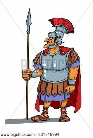 Roman Warrior Centurion Stands With A Spear
