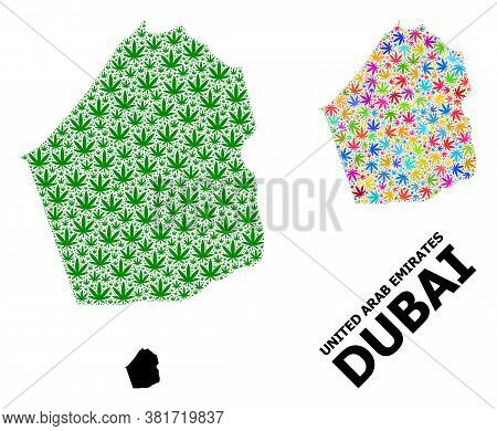 Vector Weed Mosaic And Solid Map Of Dubai Emirate. Map Of Dubai Emirate Vector Mosaic For Weed Legal