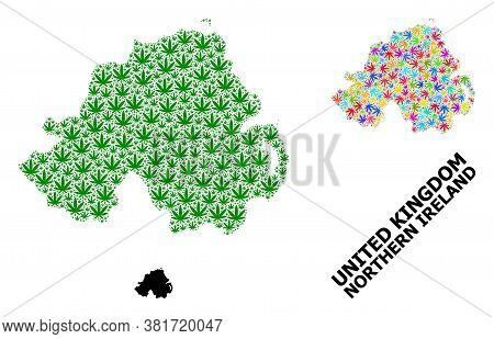 Vector Hemp Mosaic And Solid Map Of Northern Ireland. Map Of Northern Ireland Vector Mosaic For Hemp