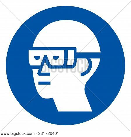 Wear Chemical Goggles Symbol Sign ,vector Illustration, Isolate On White Background Label. Eps10