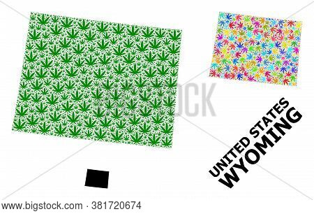 Vector Hemp Mosaic And Solid Map Of Wyoming State. Map Of Wyoming State Vector Mosaic For Hemp Legal