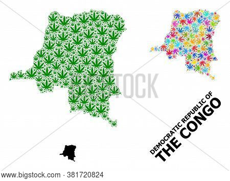 Vector Hemp Mosaic And Solid Map Of Democratic Republic Of The Congo. Map Of Democratic Republic Of