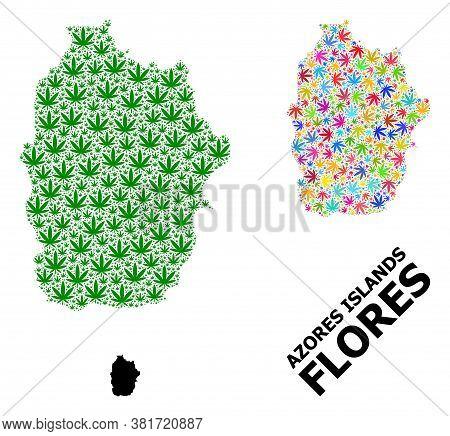 Vector Marijuana Mosaic And Solid Map Of Azores - Flores Island. Map Of Azores - Flores Island Vecto