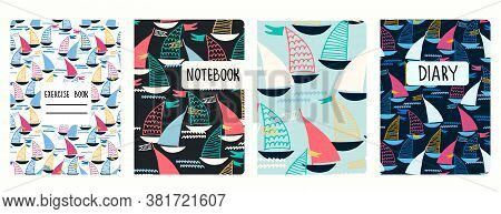 Set Of Cover Page Vector Templates Based On Seamless Patterns With Sailing Boats. Perfect For Kids E