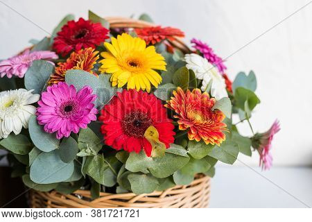 Bouquet Of Flowers, Chamomile, Daisy, Gerbera, Summer Bouquet Delicate Isolated On White Background.