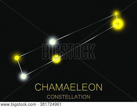 Chamaeleon Constellation. Bright Yellow Stars In The Night Sky. A Cluster Of Stars In Deep Space, Th