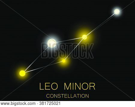 Leo Minor Constellation. Bright Yellow Stars In The Night Sky. A Cluster Of Stars In Deep Space, The