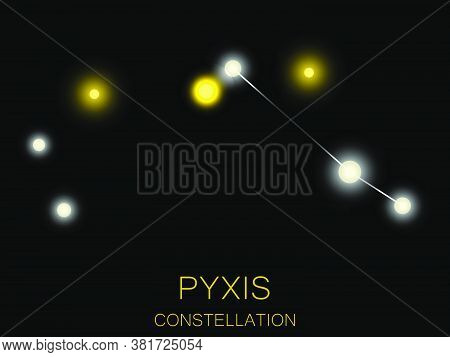 Pyxis Constellation. Bright Yellow Stars In The Night Sky. A Cluster Of Stars In Deep Space, The Uni