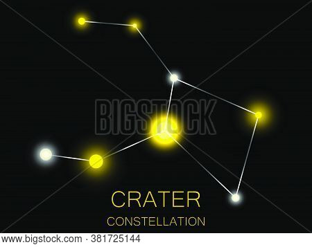Crater Constellation. Bright Yellow Stars In The Night Sky. A Cluster Of Stars In Deep Space, The Un