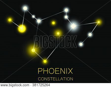 Phoenix Constellation. Bright Yellow Stars In The Night Sky. A Cluster Of Stars In Deep Space, The U