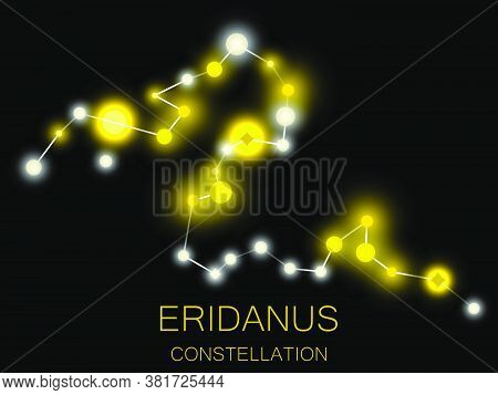 Eridanus Constellation. Bright Yellow Stars In The Night Sky. A Cluster Of Stars In Deep Space, The