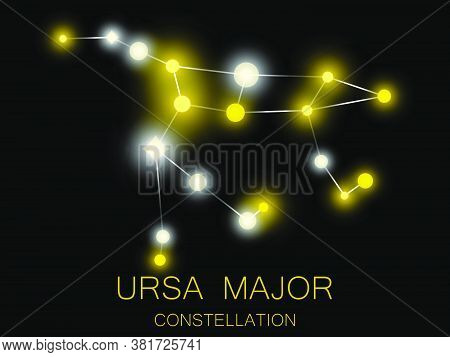 Ursa Major Constellation. Bright Yellow Stars In The Night Sky. A Cluster Of Stars In Deep Space, Th