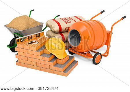 Construction Concept. Building Materials And Equipment, 3d Rendering Isolated On White Background