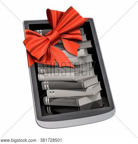 E-book Reader With Red Bow And Ribbon, Gift Concept. 3d Rendering Isolated On White Background