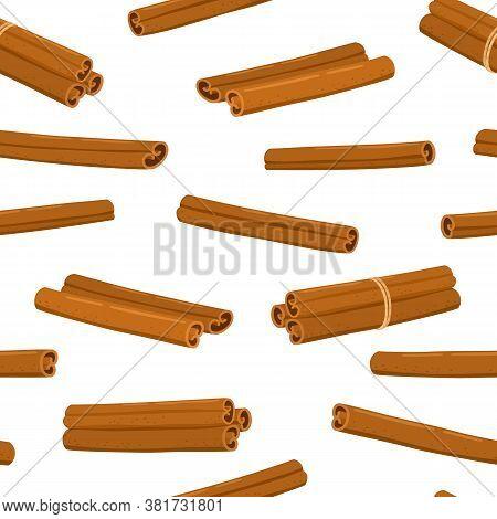 Cinnamon Sticks Seamless Pattern Isolated On White.