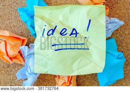 Idea Concept Crumpled Paper Ball Brainstorming For A Good Idea
