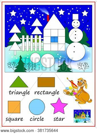 Educational Page For Kids To Study Geometrical Figures. Coloring Book. Math Education For Kids. Prin
