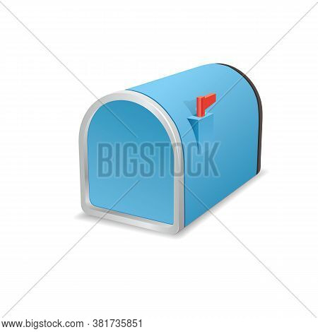 Blue Metal Closed Mailbox On A White Background. Vector Mailbox Icon. Stock Illustration.