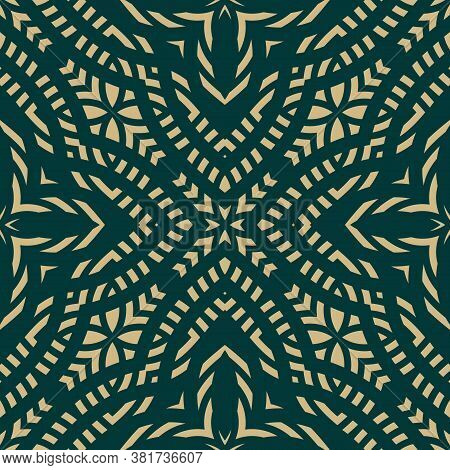 Vector Ornamental Geometric Seamless Pattern. Gold And Green Abstract Floral Ornament. Ornate Backgr