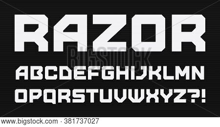 Modern Geometric Style Alphabet. Bold Square Font, Minimalist Type For Modern Futuristic Games And C