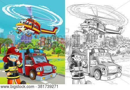 Cartoon Scene With Fire Brigade Car Vehicle On The Road And Fire