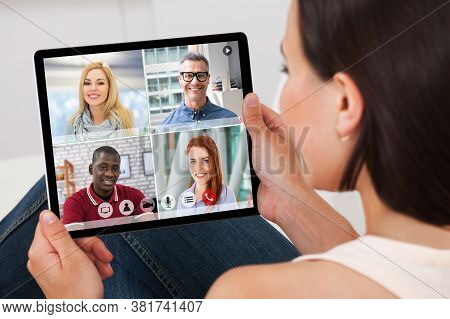 Video Conferencing Business Meeting Chat. Videoconference Elearning Webinar