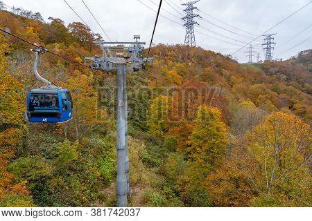 Naeba, Yuzawa, Niigata Prefecture, Japan - Oct 21 2019 : Dragondola (naeba-tashiro Gondola) In Autum