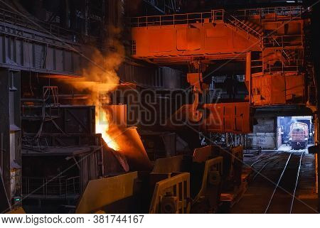 Smelting Of The Metal In The Foundry On The Factory