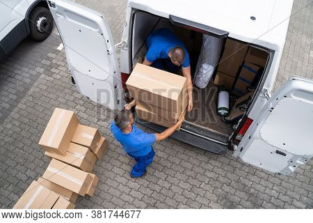 Open Truck Delivery. Mover Men Moving Boxes