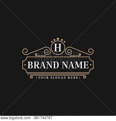Luxury Logo Template Flourishes Calligraphic Elegant Ornament Lines. Identity For Restaurant, Royalt