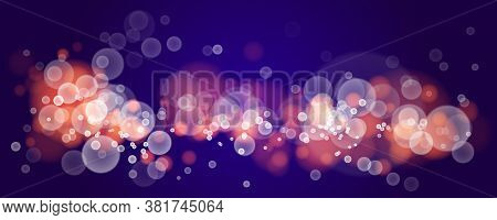Bright Blurred Lights Vector Transparent Effect Illustration, Abstract Bokeh Background With Depth O