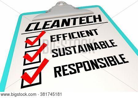 Cleantech Company Business Principles Industry Disruption Checklist 3d Illustration