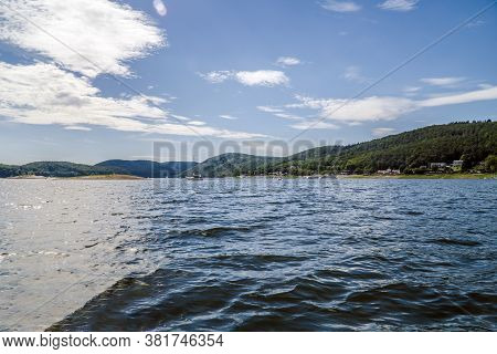 Beautiful Edersee With Boat In North Of Hessen In Germany