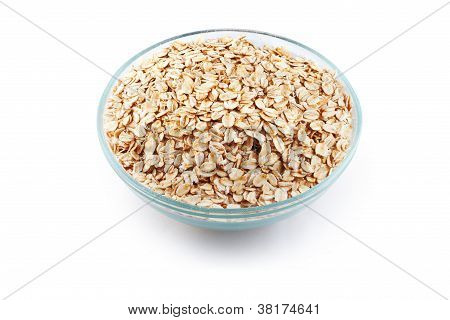 Oats In Transparent Bowl Isolated On White