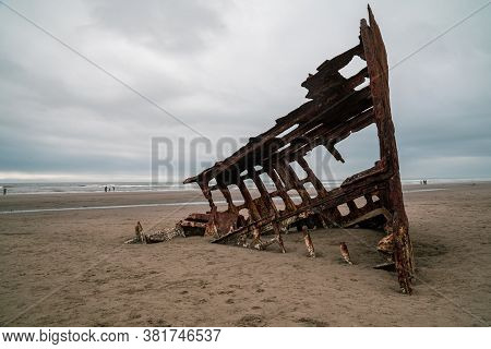 The Wreck Of The Peter Iredale Shipwreck, In Fort Stevens State Park, Astoria Oregon