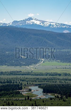 View From The Signal Mountain Overlook In Grand Teton National Park - Large Forested Area, With The